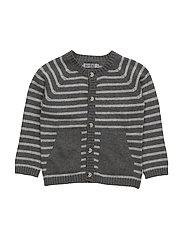 Knit Cardigan Stripe Classic - DARK MELANGE GREY
