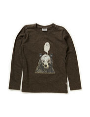 T-Shirt Owl and Bear LS - melangebrown