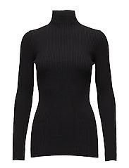 Viscose Rib Pullover - BLACK