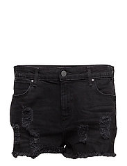 BOYFRIEND SHORT DAMAGED BLACK - DAMAGED BLACK