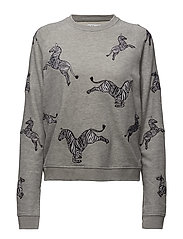 LOOSE FIT RAGLAN SWEAT ZEBRAS ALL OVER - GREY HEATHER