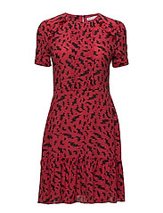 LOOSE FIT DRESS ELECTRIC ALL OVER - BERRY