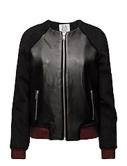BOMBER JACKET CONTRAST LUREX RIB - DEEP BLACK