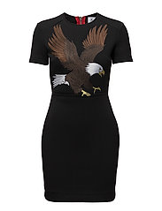 FITTED SHORT SLEEVE DRESS - DEEP BLACK