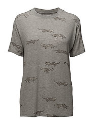 BOYFRIEND FIT T-SHIRT LEOPARDS ALL OVER - GREY HEATHER