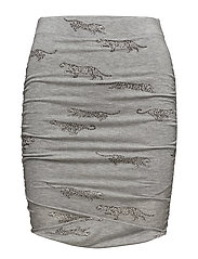 WRAP MINI SKIRT LEOPARDS ALL OVER - GREY HEATHER