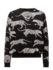BALLOON FIT SWEAT LEOPARDS ALL OVER - JET BLACK