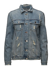 DENIM JACKET CLIMBING LEOPARD - VINTAGE BLUE