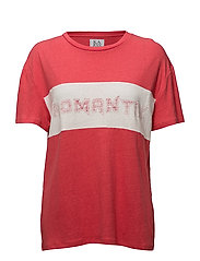 LINEN-BLEND BOYFRIEND T-SHIRT ROMANTIX - TOMATO/OPTICAL WHITE