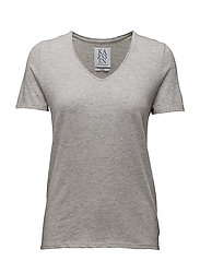 LOOSE FIT LOW V-NECK TEE - GREY HEATHER